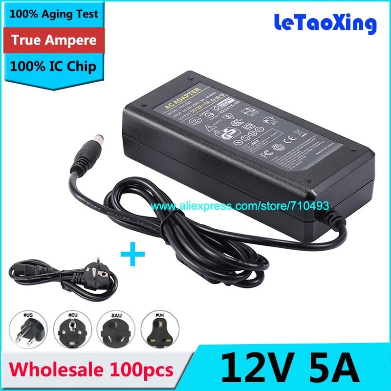 100 piezas con Chip IC DC 12 V 5A adaptador de fuente de alimentación para 5050, 3528 LED tira rígida luz de la pantalla monitor LCD + Cable de alimentación