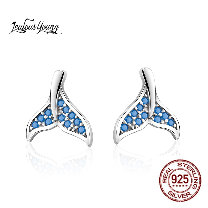 Dolphin Blue Fishtail Small Stud Earrings with Young Zirconia Luxury Zircon Silver Color Earrings Jewelry for Party Gift Brincos