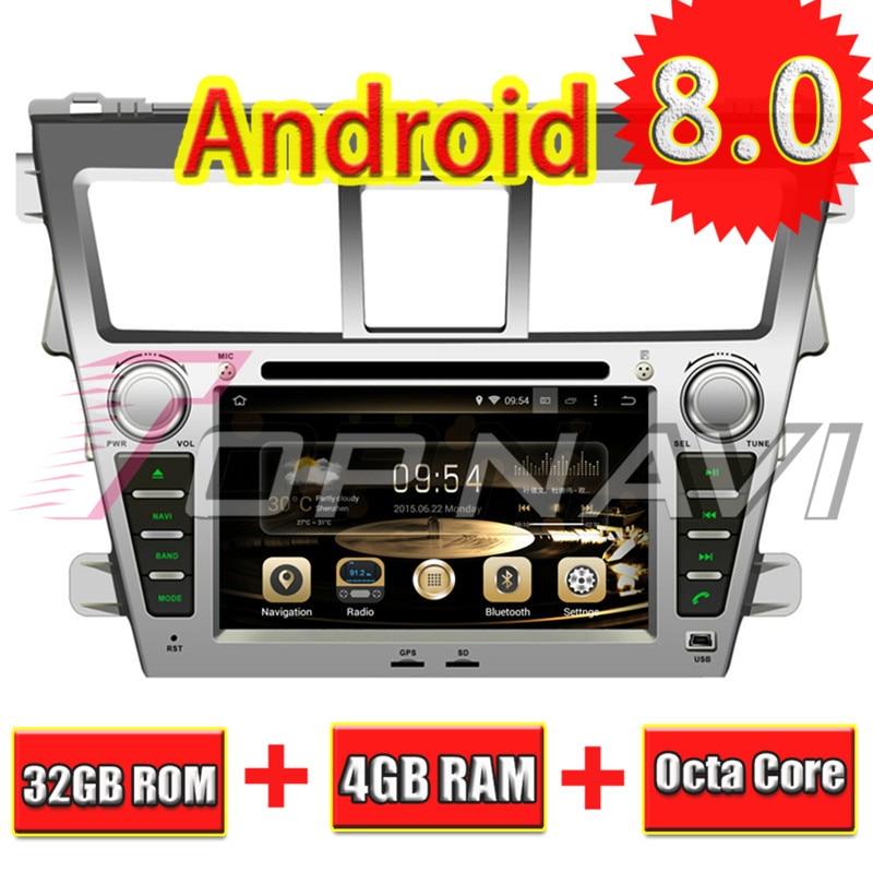 TOPNAVI 7'' Octa Core Android 8.0 Car DVD Player for Toyota Vios 2007- Autoradio GPS Navigation Audio Head Unit 2 Din Stereo