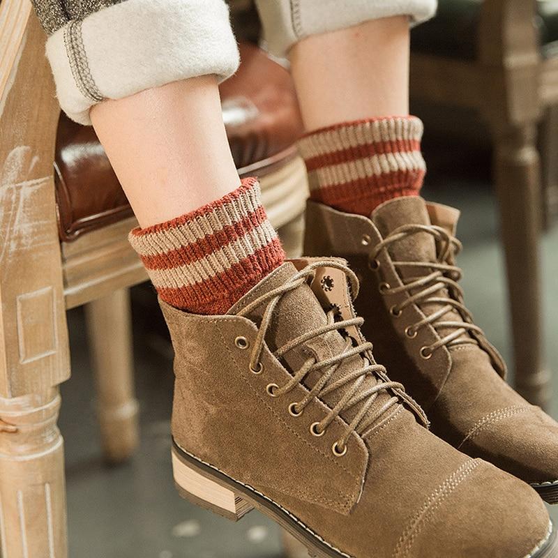 Jeseca hiver épaissir chaussettes plus chaudes pour les femmes automne rayure Harajuku Vintage Streetwear cheville Sox école étudiant coton doux chaussette