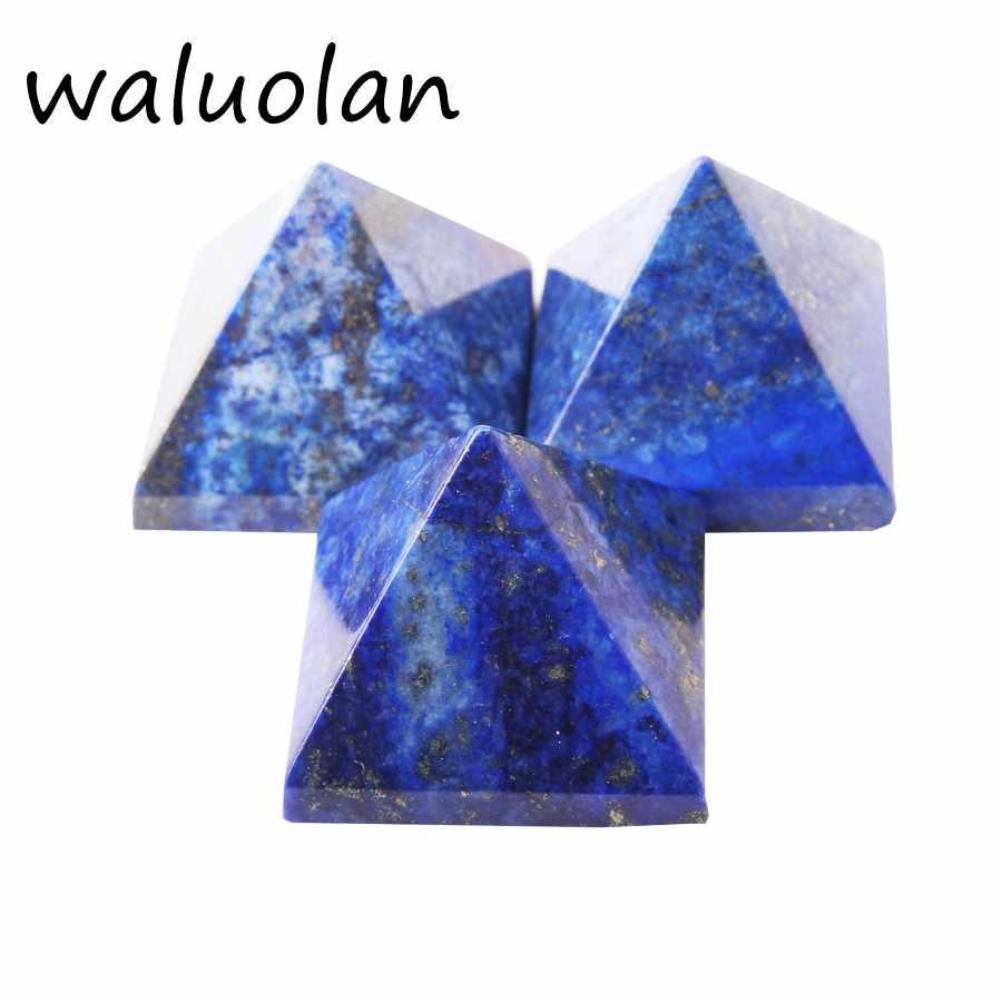 30mm-40mm 100% lapislázuli natural Pirámide de cuarzo de cristal cura a través de Reiki y chacra Energy Tower adornos para el hogar