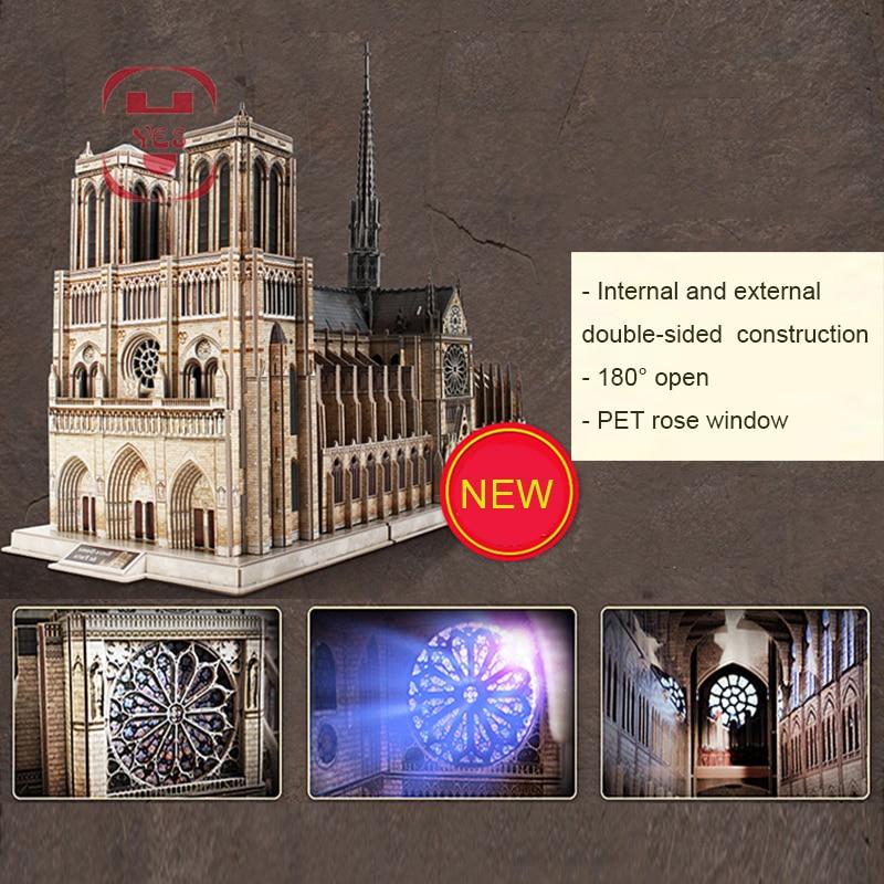 1:250 نوتردام دي باريس الوجهين مفتوحة 3DPanoramic عالية محاكاة نموذج لغز روز نافذة طفل ذكي لعبة تذكارية