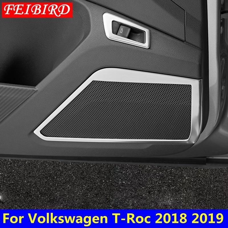 Accesorio de coche para Volkswagen t-roc T Roc 2018 2019 puerta interior de coche de acero inoxidable altavoz estéreo cubierta de altavoz de Audio embellecedor