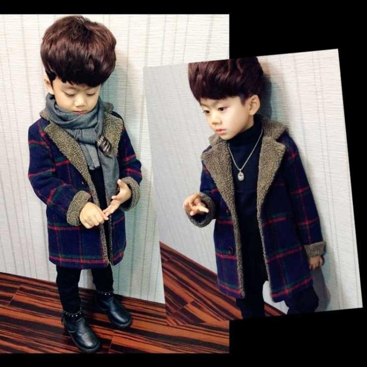 Шерстяные пальто для мальчиков, осенние и зимние куртки для маленьких мальчиков, длинная стеганая теплая детская одежда в клетку, пальто, верхняя одежда-1