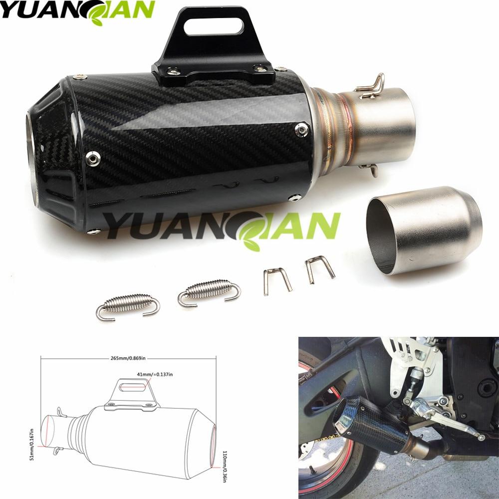 Выхлопная труба для мотоцикла, Модифицированная выхлопная труба из углеродного волокна для триумфа, КАВАСАКИ, ER6N, ER6F, ER-6N, Yamaha, ER-6F, 36-51 мм
