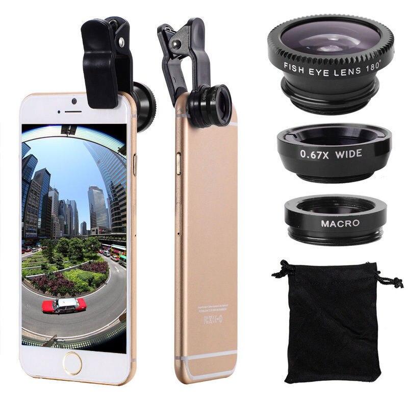 Universal olho de peixe lente fisheye 3 em 1 lente do telefone móvel clipe grande angular macro lente da câmera para o iphone 6 plus 5S huawei samsung 7