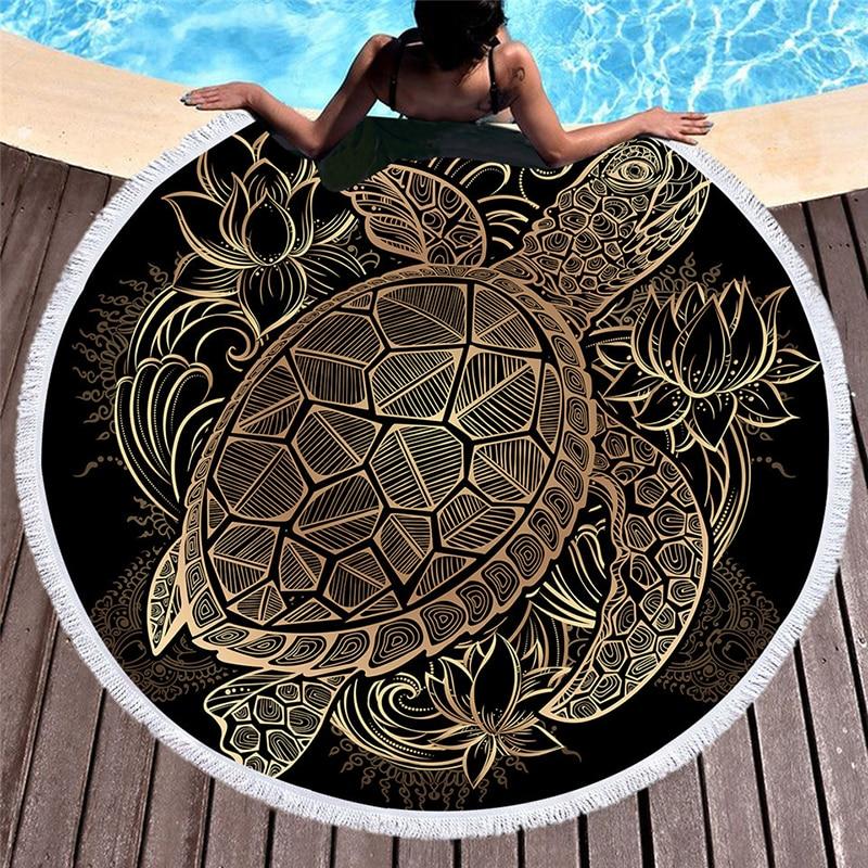 Las tortugas ronda Toalla de playa con Mandala borla tapiz colgante de pared de la flor de microfibra Toalla manta esterilla de Yoga redonda Toalla de playa