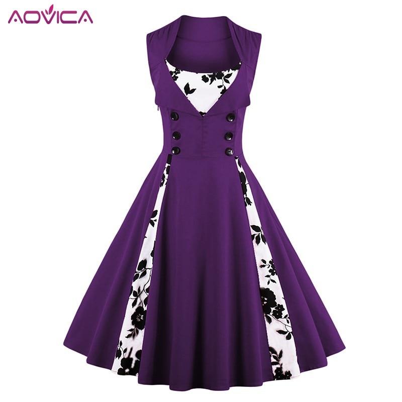 4XL 5XL Plus Size Women Robe Pin Up Dress Retro Vintage 1950s 60s Rockabilly Swing Summer female Dresses Elegant Tunic Vestidos