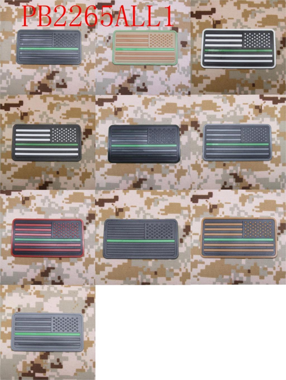 Parche de moral militar 3D parche de PVC opuesto a la delgada línea verde de la bandera de los agentes federales de los parques Rangers