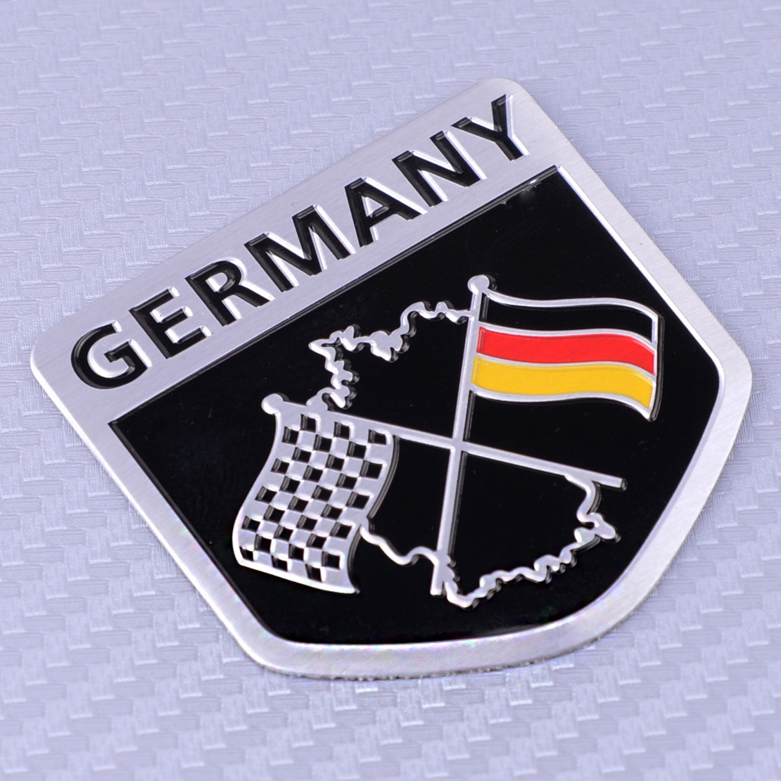 CITALL Aluminium Deutsch Auto Styling Racing Flagge Emblem Grille Badge Aufkleber Fit Für Porsche BMW VW Benz