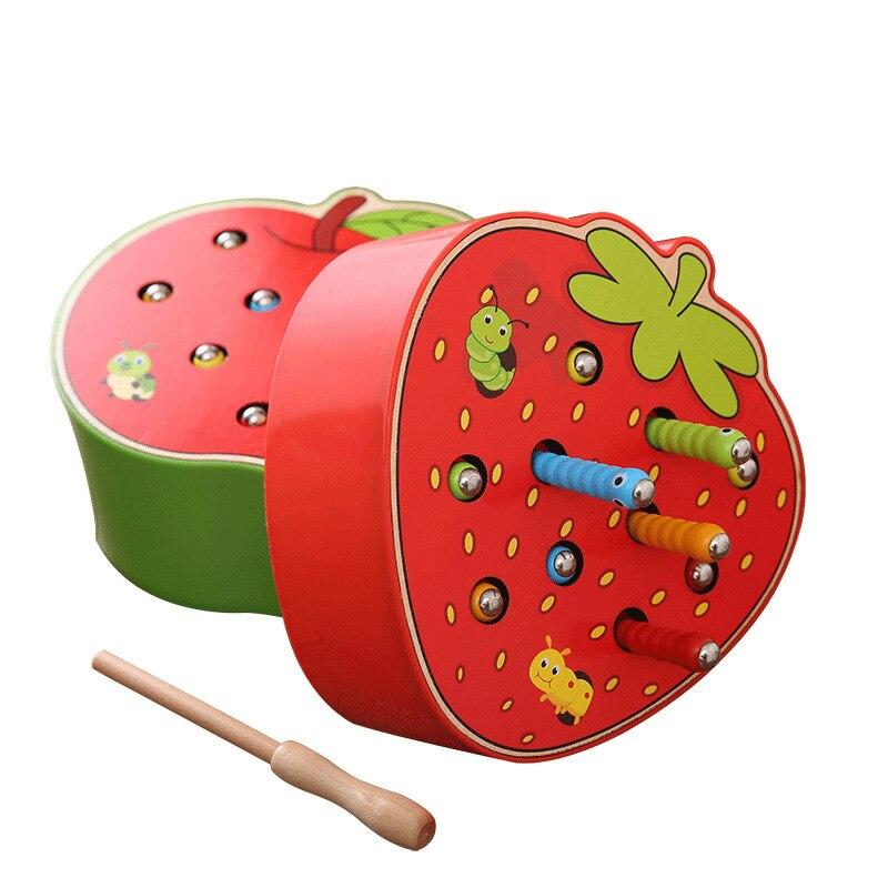 Juguetes de madera para bebés rompecabezas educación temprana atrapando insectos juego fresa gusano de manzana comer fruta niños montessori juguetes de bebé 0-12 meses