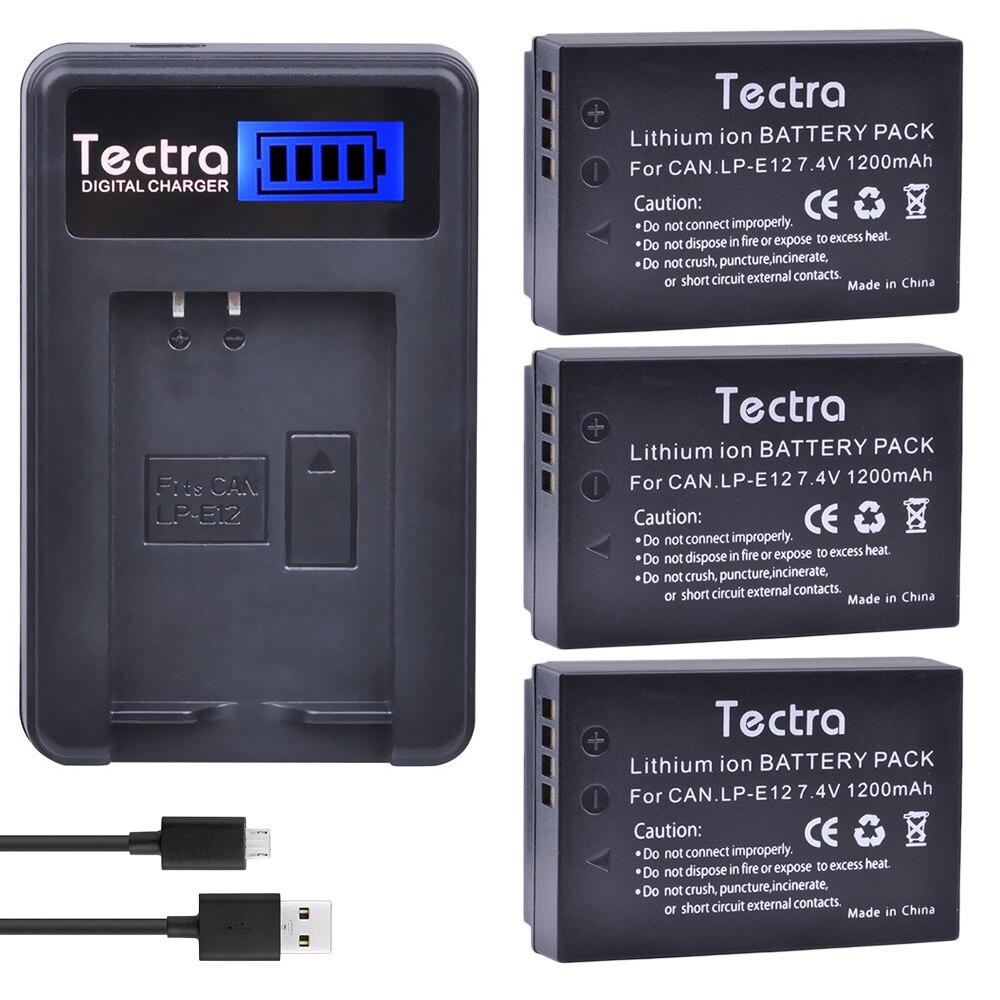 Tectra 3 piezas LP-E12 LPE12 Cámara batería + LCD USB cargador para...