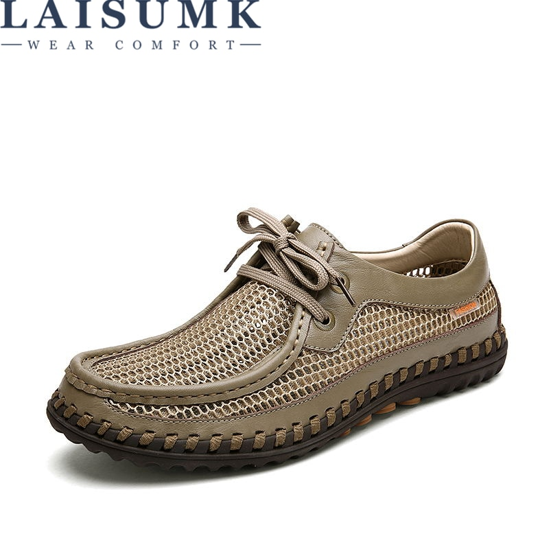 LAISUMK Homens Sapatos De Couro de Verão Respirável Casuais Oco Rendas Até Mocassins Calçados Condução Suave Handmade Chaussure homme