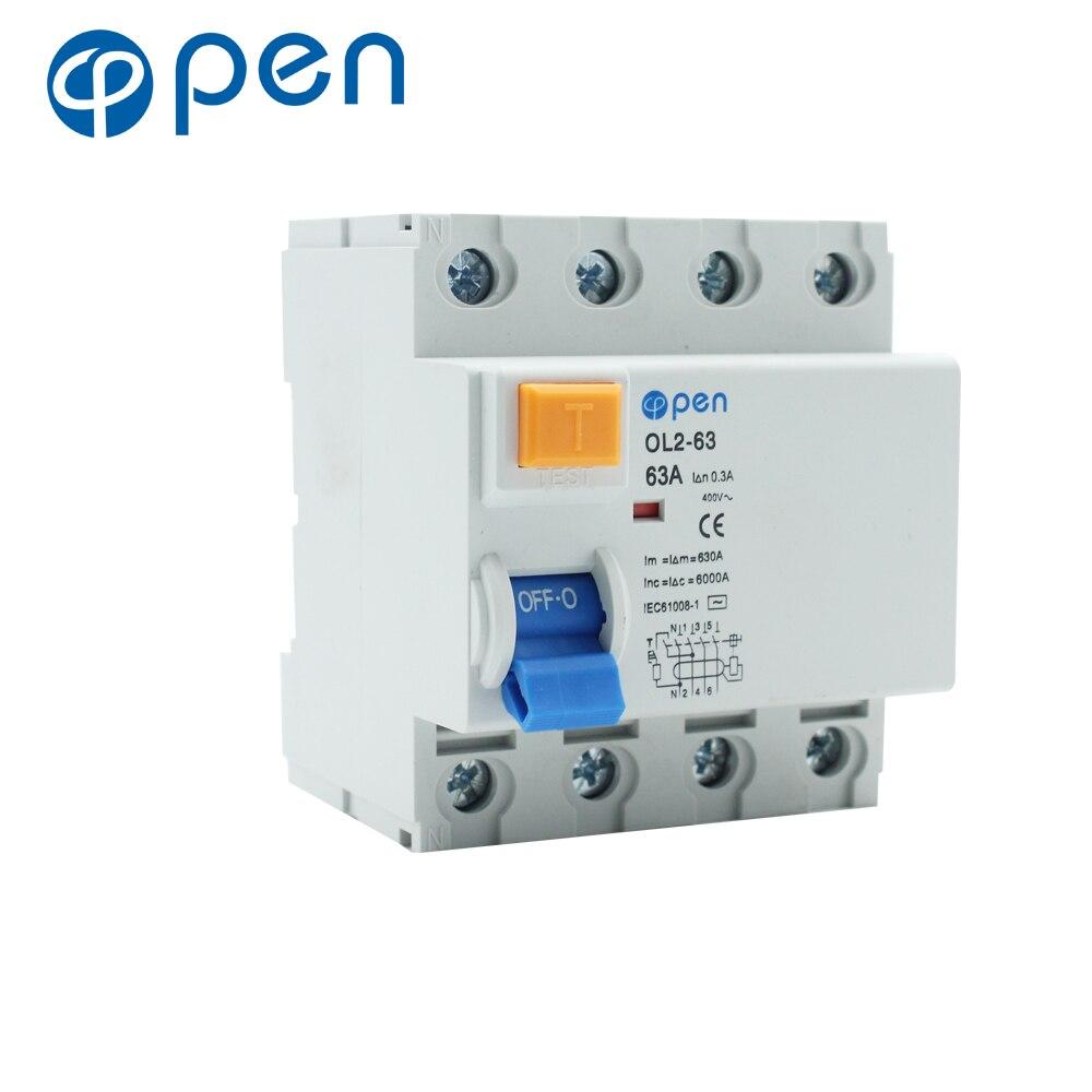 Disyuntor de corriente residual 4P 63A/80A 300mA AC Series de OL2-63 RCCB para protección contra fugas y cortocircuitos