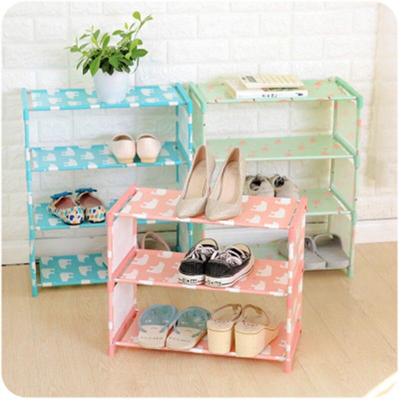 Portable 3/4 Tier Shoes Rack Stand Shelf Hallway Cabinet Organizer Holder Door Shoe Storage Cabinet Shelf DIY Home Furniture