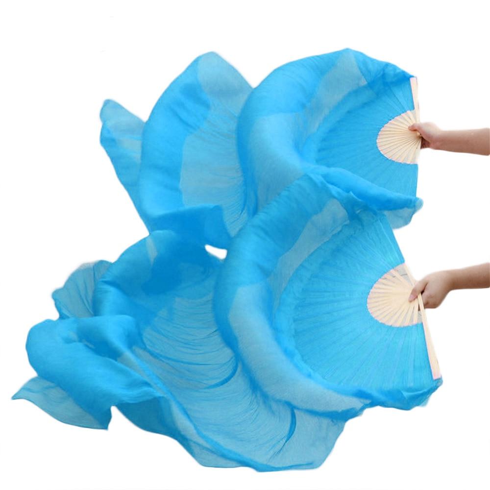High selling 100% Real Silk Veils 1 Pair handmade women Quality Silk Belly Dance Fan Dance turquoise color недорого