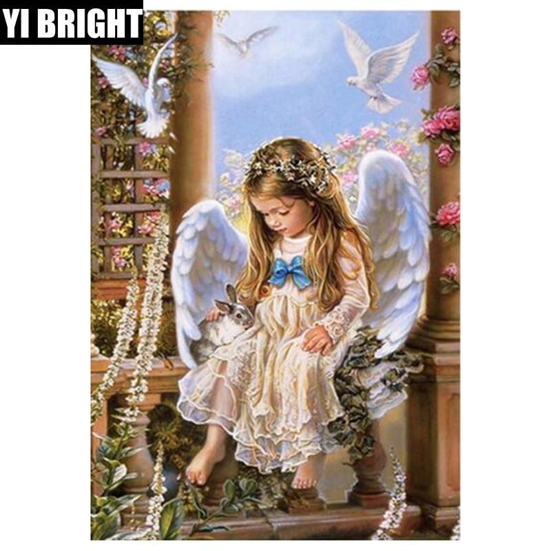 "YI BRIGHT DIY hecho a mano cuadrado/redondo diamante pintura ""ángel gir"" diamante bordado venta stitch kit mosaico de diamantes hogar locura"