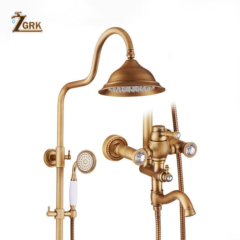 ZGRK bateria do łazienki antyczny deszczownica mosiądz wanna opady deszczu z prysznic natryskowy System Bidet Tap europa kran wanna prysznic zestaw
