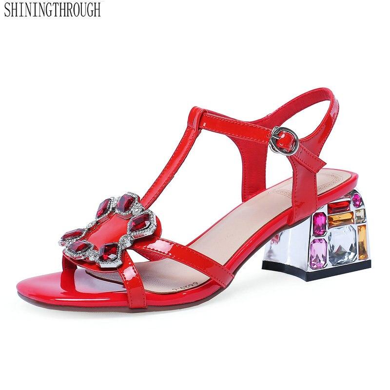 Women High Heel Sandals Girl crystal T-strap Ladies Sandals Summer Fashion Genuine Leather sandals