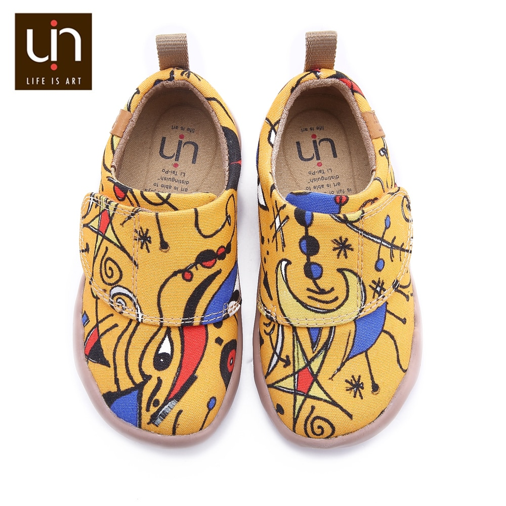 UIN Sunset Bird Design Painted Little Kids Canvas Shoes Easy Hook & Loop Sneakers for Boys/Girls Fashion Flats