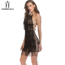 HAMBELELA verano lujo Sexy borla de lentejuelas cuello Mini vestido vendaje Spaghetti Correa cóctel de celebridades Vestidos de fiesta Vestidos