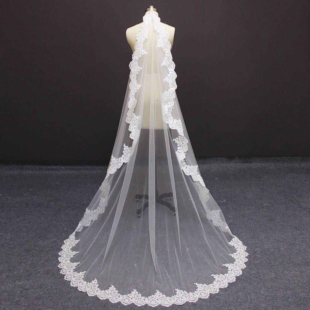 High Quality 2 Meters Sparkling Sequins Lace Wedding Veil 2M One Layer Soft Tulle Bridal Veil with Comb Voile Mariage Veu