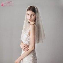 White Tulle Wedding Veils Shoulder Length Simple Champagne Wedding Bridal Veil  Elegant Boho Style  V620
