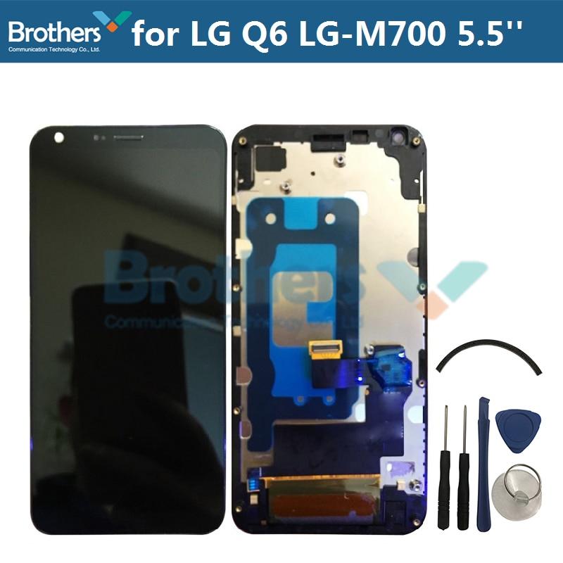 Pantalla LCD para LG Q6 LG-M700 pantalla LCD para LG Q6 LG-M700 M700 M700A montaje LCD Digitalizador de pantalla táctil 5,5 negro probado Top