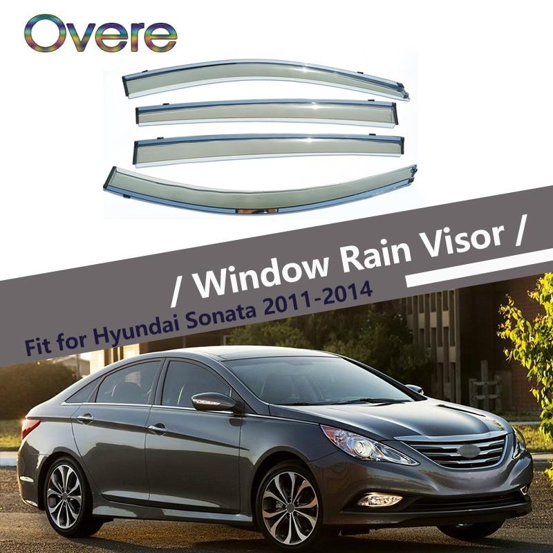 Overe 4 piezas/1 Set humo ventana lluvia Visor para Hyundai Sonata 2011, 2012, 2013, 2014 estilo toldos refugios guardia Accesorios