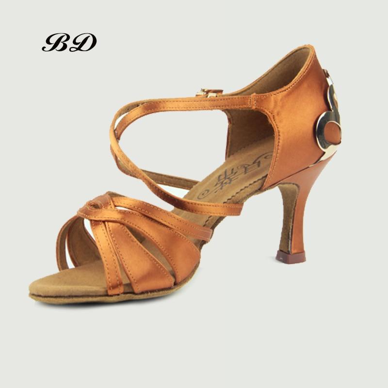 Top Grade Dance Shoes Ballroom Women Latin Shoes Imported Satin BDSASAN BD 2383 Diamond Buckle High-grade Metal Heel Sandals HOT