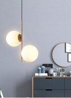 2018 New Nordic Style Gold Dining Room Pendant Light Double Milky Glass Ball Cafe / Bar Art Light