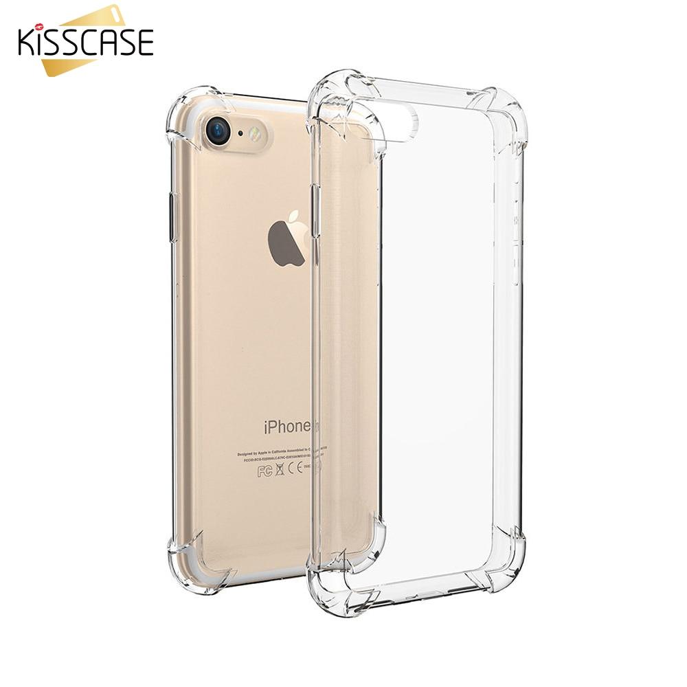Funda KISSCASE transparente de silicona suave antigolpes para iPhone 7 Plus 6 6S Plus 5S para Galaxy S7 S7 Borde transparente a prueba de golpes