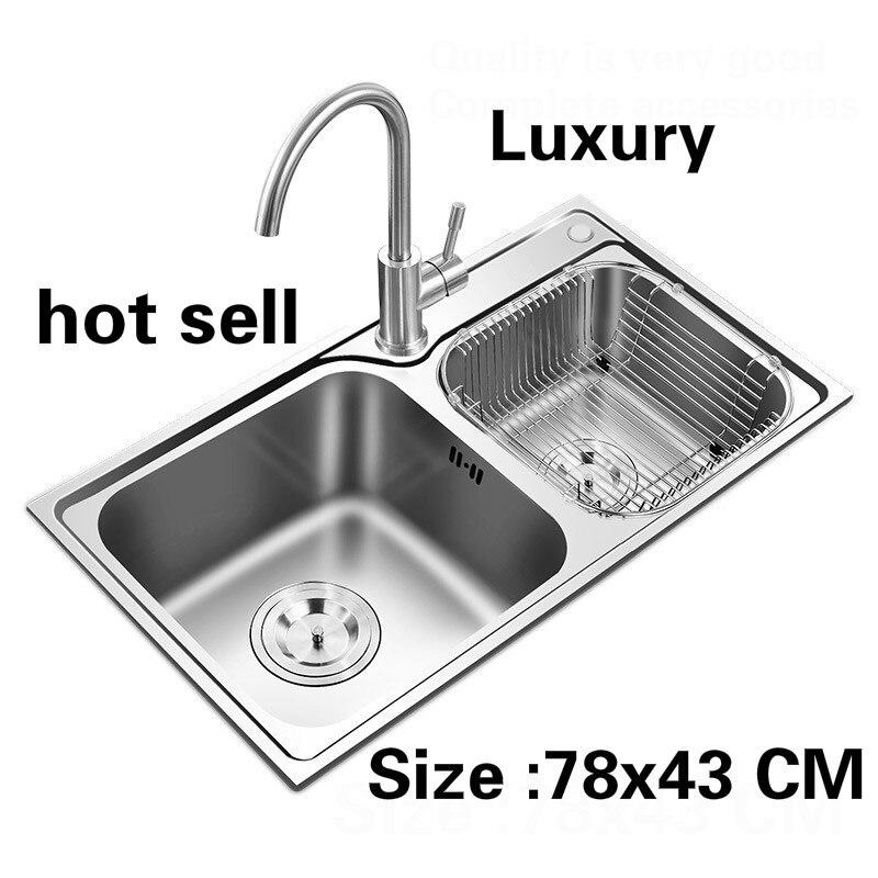 Fregadero de doble ranura para cocina de lujo para apartamento, envío gratis, platos de alta calidad, acero inoxidable 304, superventas, 780x430 MM