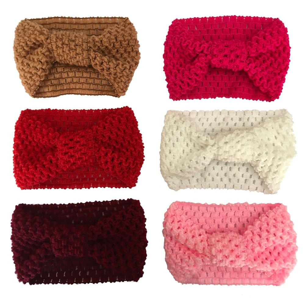 Вязаная крючком повязка на голову для маленьких девочек зимний тюрбан ободок для головы теплый вязаный бант повязка для волос аксессуары д...