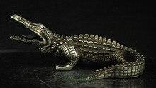 Tnukk collectible home 장식 된 중국 미아오 실버 조각 사나운 악어 악어 악어 동상 금속 공예품.