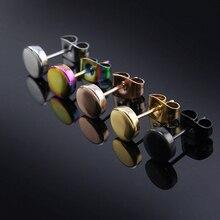 Серьги-пусеты круглой формы из нержавеющей стали с застежкой-бабочкой, простой дизайн, красивые серьги унисекс для пирсинга