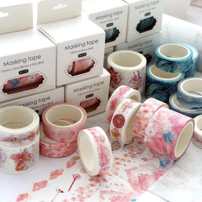 3 unids/set cinta temática Sakura decoración de unicornios washi cinta de papel DIY pegatina álbum de recortes diario etiqueta adhesiva para útiles escolares