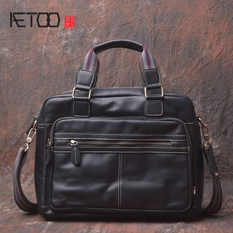 aetoo the first layer of leather 2017 new korean version of the small handbag female hard section leather black wild fashion kel AETOO Original design of the first layer of leather soft leather men bag shoulder Messenger business English cross section porta