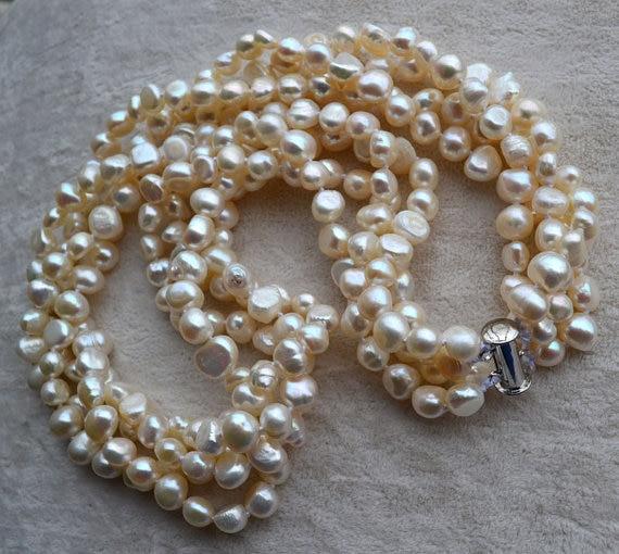 Collar de perlas perfectas, 4 encantadoras hebras Color blanco barroco forma 100% collar de perlas de agua dulce Real, AA 6-7MM 18 pulgadas