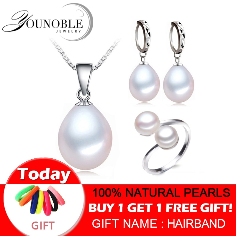 Get Real freshwater pearl jewelry set women,natural pearl sets 925 sterling silver jewelry girl birthday engagement gift top quality