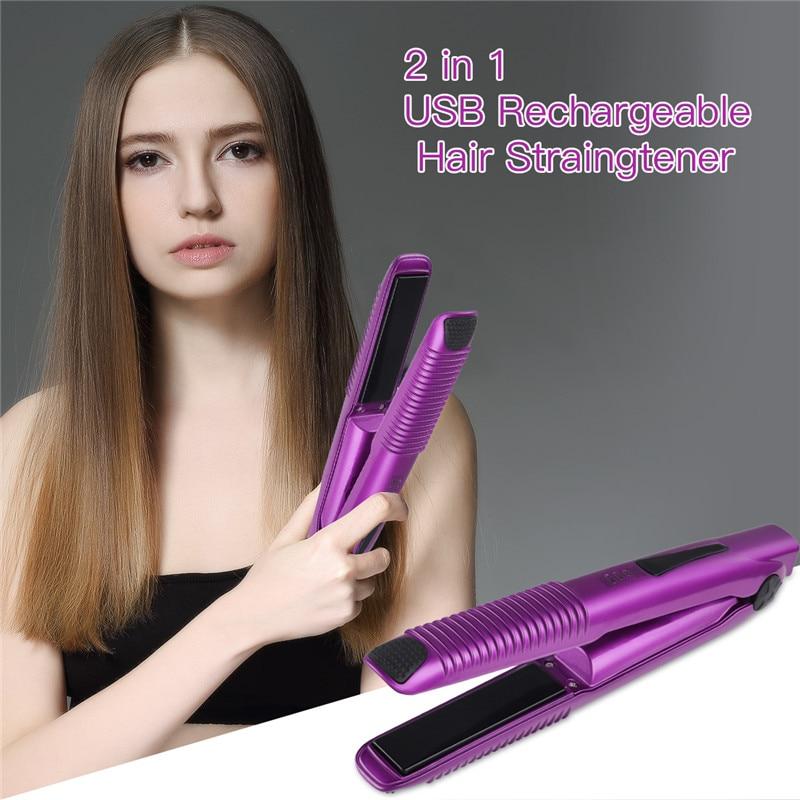 Rizador de pelo inalámbrico 2 en 1 Mini, rizador de pelo USB recargable, alisador de pelo, plancha plana, herramienta de estilismo portátil para viajes