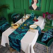 Custom Made Table Runner Cover Rectangle 30 x 160 180 200 220cm Europe Ins Leaves Dark Green 4 Patterns