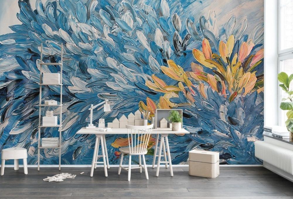 [Autoadhesivo] 3D pétalos azules naranjas pintados 6 papel de pared mural Impresión de pared pegatinas para Murales y Paredes