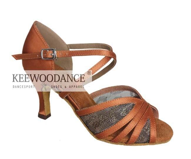Livraison gratuite nouveau tan satin maille bonne qualité femmes chaussures de danse de salon chaussures de mariage chaussures de fête bachata chaussures kizmba
