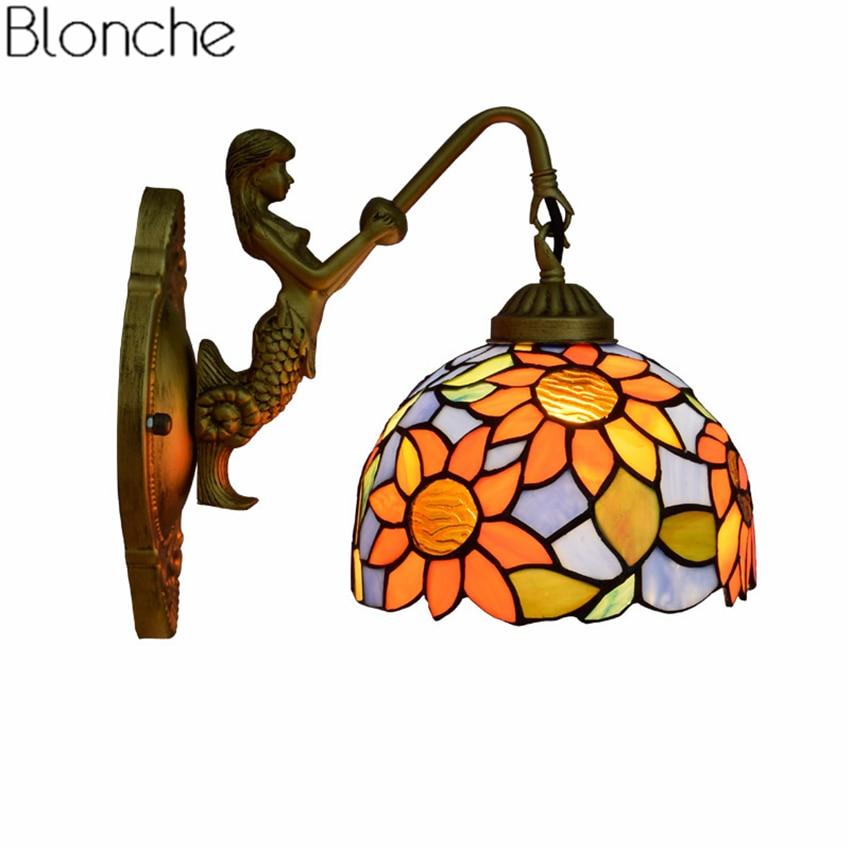 Lámpara de pared moderna, aplique de sirena de vidrio manchado mediterráneo, luz LED para espejo de pared para dormitorio, baño, accesorios para el hogar, decoración E27