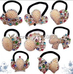 Free Shipping!2015 New 1PCS Rhinestone Fruit Apple/Bows/Crown Hair Bands Elastic Ropes Ties Ponytail Holder Hair Accessories