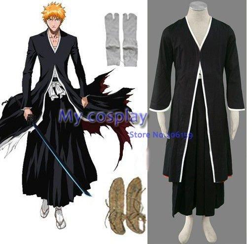 Japanese Anime Bleach Ichigo Kurosaki Men's Bankai Cosplay Costume male plus size Halloween Costume