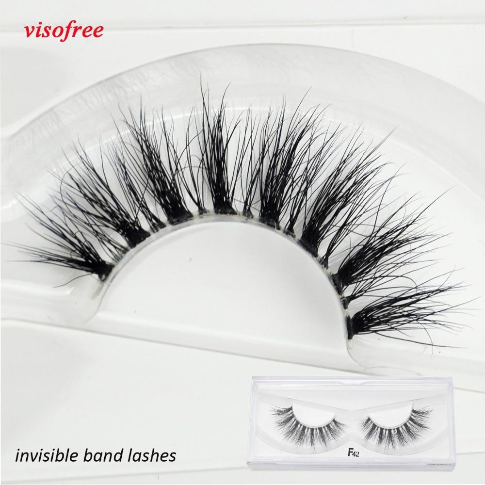 Visofree vison cílios banda clara cílios crisscross transparente cílios postiços artesanais cílios dramáticos superior lash f42