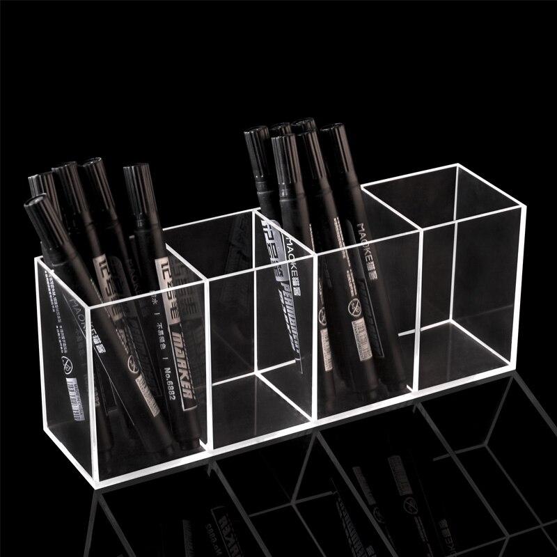 Organizador de cepillos de lápiz de escritorio organizador de acrílico con 4 ranuras soporte de brocha cosmética organizador de maquillaje estante de almacenamiento de cepillos de maquillaje claro