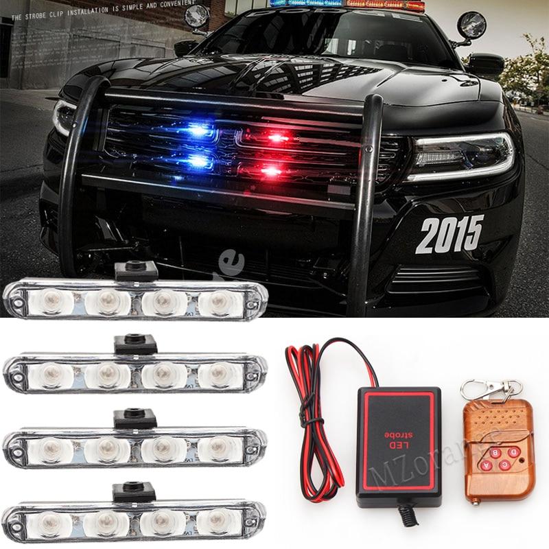 4x4/led LED DRL Ambulance Police Light 12V Strobe Warning Light 4 in 1 Wireless Remote Car Truck Light Flashing Firemen Lights